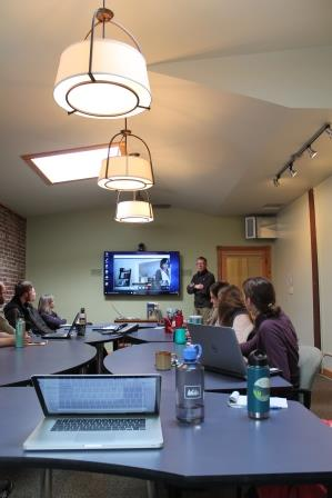 Business group teleconference in conference room